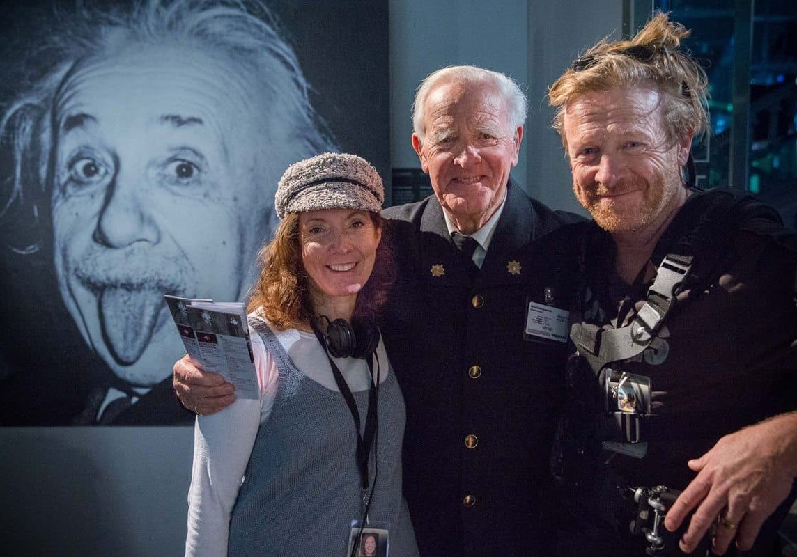A cheeky shot... (l-r) of director Susanna White, John Le Carré and Anthony Dod Mantle in the Einstein Museum in Bern