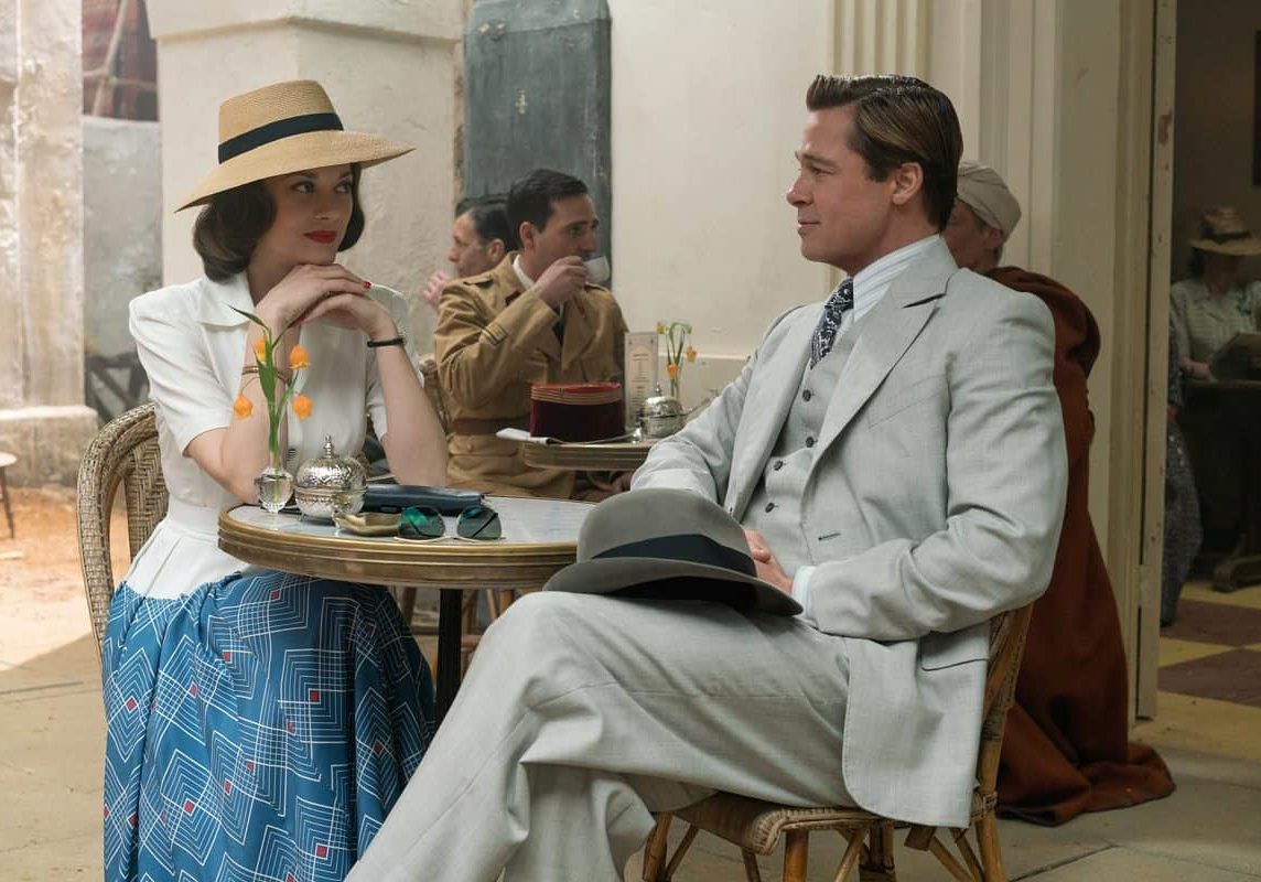 Brad Pitt plays Max Vatan and Marion Cotillard plays Marianne Beausejour in <em>Allied</em>