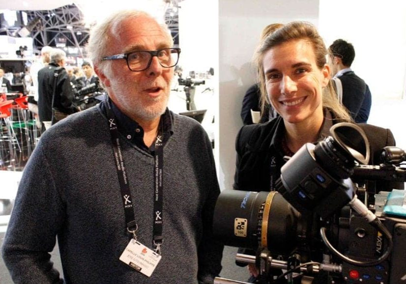 Glass act… Louis-Philippe Capelle SBC/IMAGO and Anna Piffl, manager of P+S Technik, with the Technovision 100mm Anamorphic lens. (Photo: Lars Pettersson FSF)