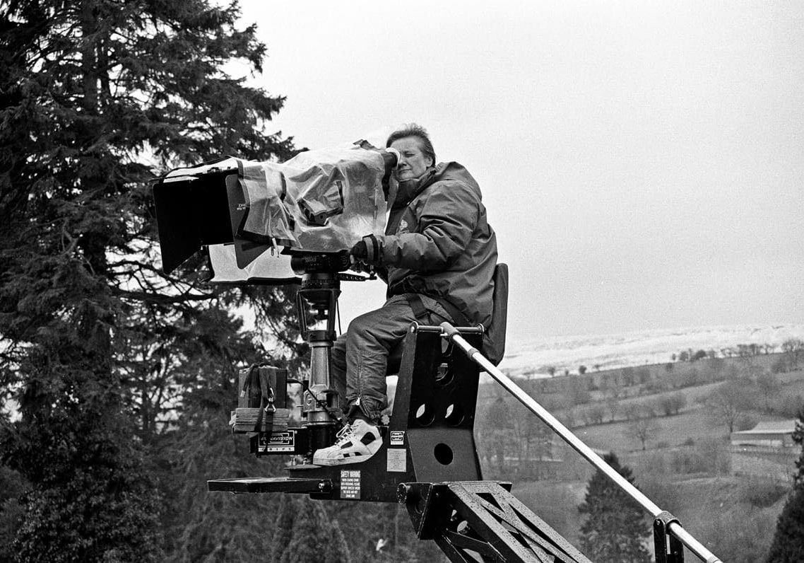 Up on the crane during the shoot of Solomon & Gaenor