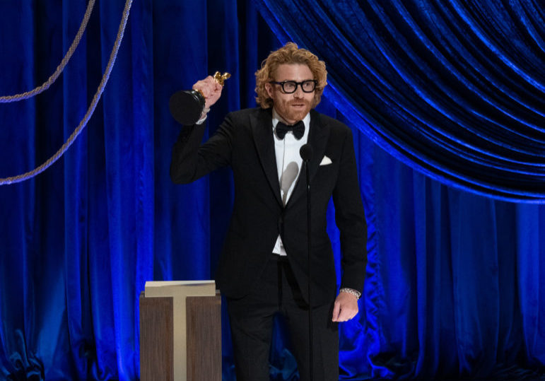 Erik Messerschmidt accepts the Oscar® for Cinematography during the live ABC Telecast of The 93rd Oscars® at Union Station in Los Angeles, CA on Sunday, April 25, 2021.