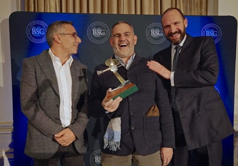 Haris Zambarloukos BSC presented the 'TV Drama' award to Mark Patten at the 2017 BSC awards, alongside guest of honour, Ralph Fiennes