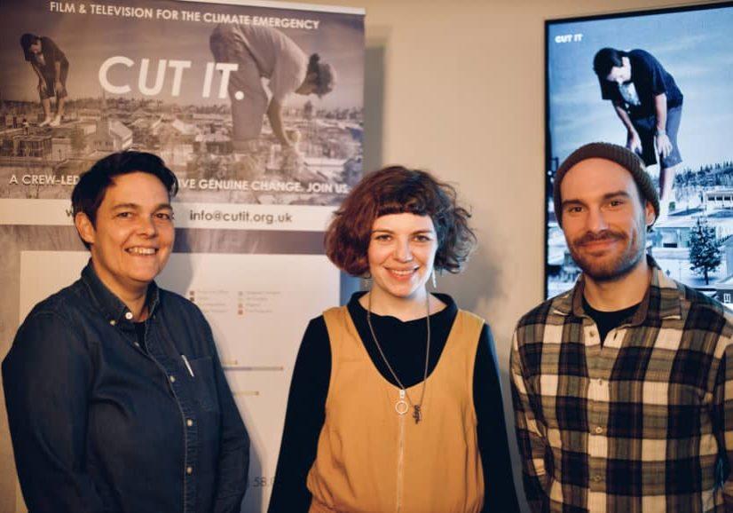 (l-r) Gaffer Carolina Schmidtholstein, with DP Sarah Cunningham and 1st AC Jason Henwood. Photographer- Laurence Johnson